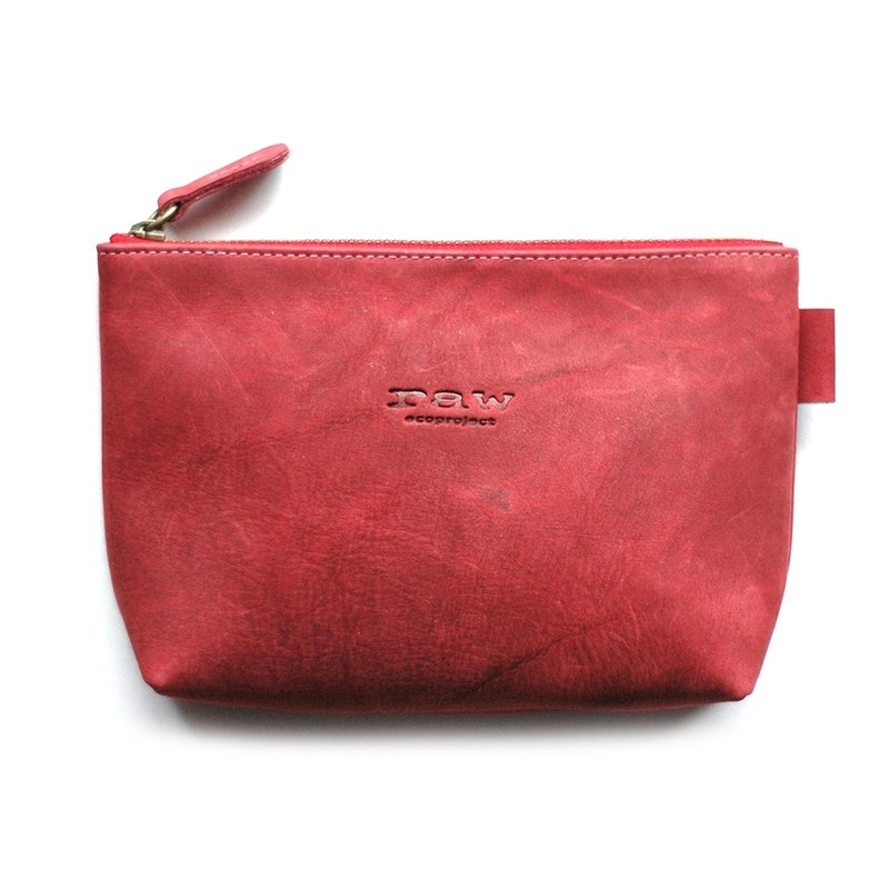 Leather Storage Bag / Leather Cosmetic Bag - Dark Red