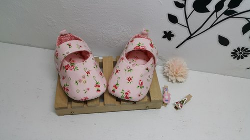 Pink Rose Garden baby shoes handmade shoes
