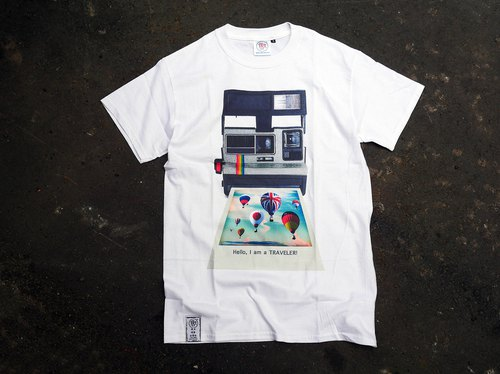 < since so since the sale > retro T-SHIRT- rainbow machine (white)
