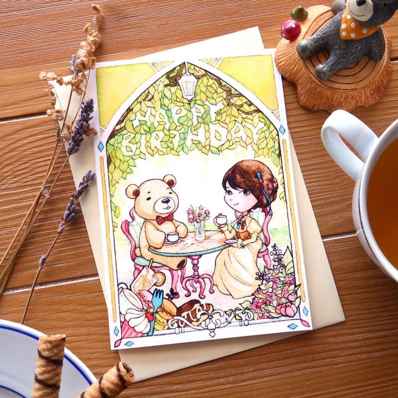【Pin】Tea Party with Bear│Print│Birthday card with envelope at your choice