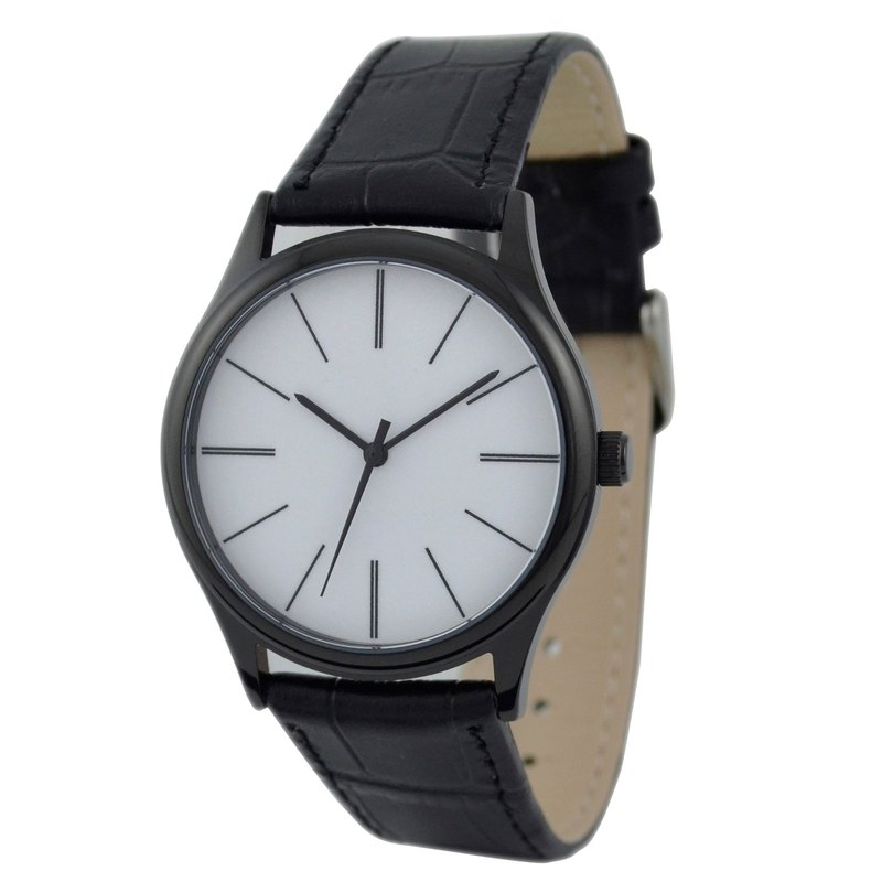 Simple Young long streak watches black shell neutral free transport