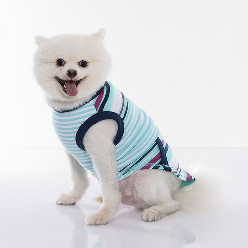 [ Fabrizio ] Tee Beech law changes striped pocket styling sleeveless vest pet clothes