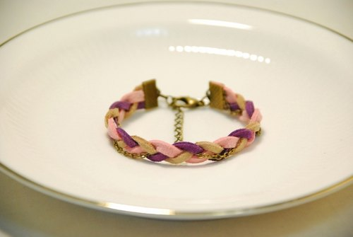:: Cat Princess :: ~ love naked leather metal chain bracelet with purple powder //
