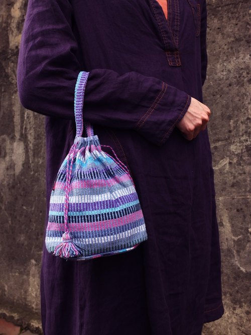 【Grooving the beats】Handmade Hand Woven String Pouch / Draw String Bag / Hand Bag(Light Purple)