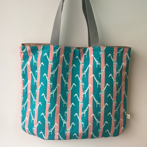 Hand-made / custom / customized: tote bag, big cloth (blue pink striped white little giraffe + pink bottom)