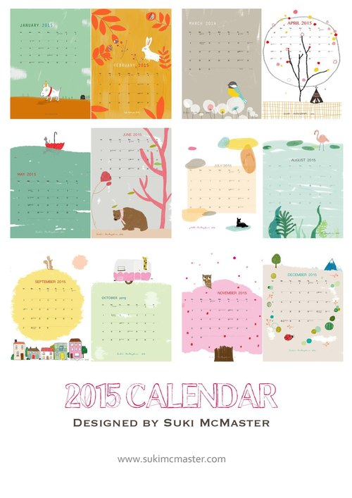 Painted 2015 Calendar - Global Free Shipping