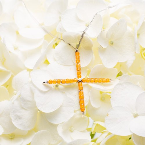 Cool Stylized Large Cross Pendant in 925 Sterling Silver, Yellow Jade Moissanite