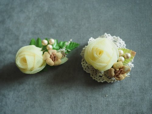 Handmade seersucker yellow rose wedding hand flower corsages