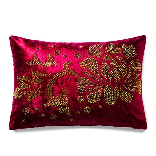 [GFSD] Rhinestone Boutique - Peony Damask gold makeup lumbar pillow