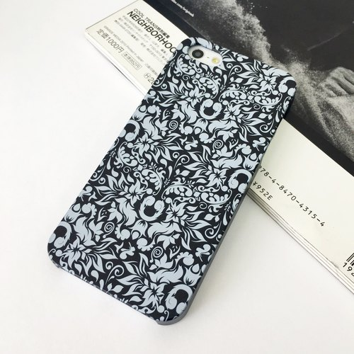 Black Flowers Pattern Print Soft / Hard Case for iPhone X,  iPhone 8,  iPhone 8 Plus,  iPhone 7 case, iPhone 7 Plus case, iPhone 6/6S, iPhone 6/6S Plus, Samsung Galaxy Note 7 case, Note 5 case, S7 Edge case, S7 case