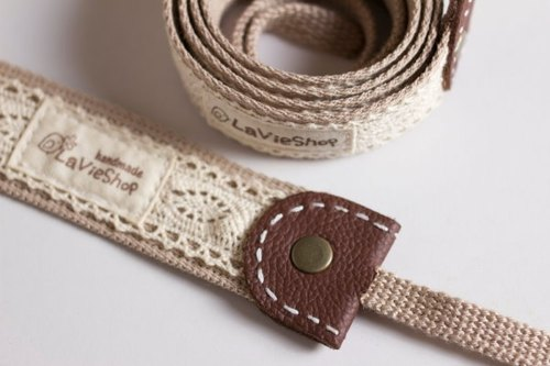 【LaVieShop*Handmade】Japanese Cotton Lace  (Khaki).32mm Handmade Camera strap.GF/NEX/DLSR/M43.Customizable