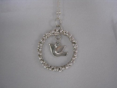 Handmade 925 sterling silver necklace - morning dew birds / spot a