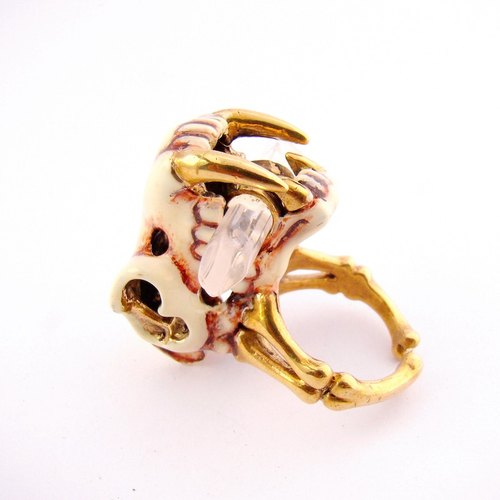 Realistic Saber tooth skull ring with clear quartz stone and oxidized antique color