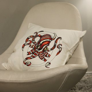 [O] ctopus octopus: hand-painted letters pillow