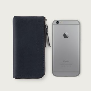 iPhone zipper phone case / wallet -- deep sea blue