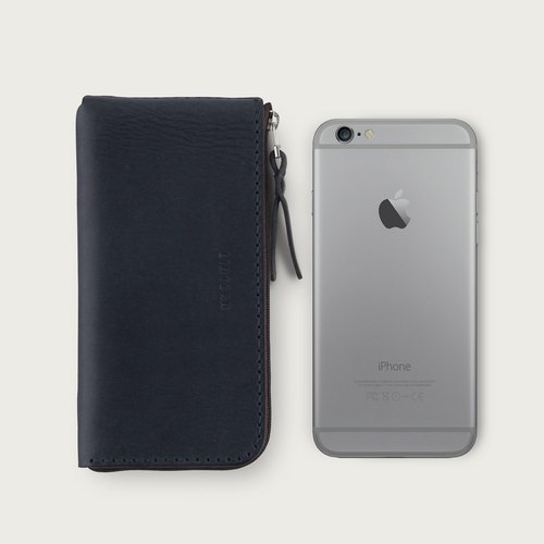 "LINTZAN ""Leather Handmade Sewing"" Zipper iPhone Case / Wallet - Deep Blue"
