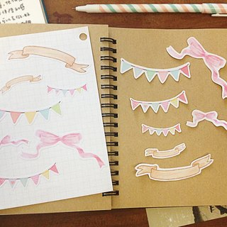 Decorative ribbons series / hand-painted style illustration PDA stickers _ a group