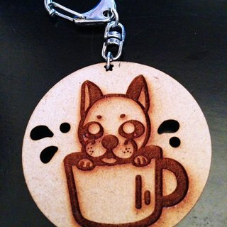 JokerMan- dog biscuits wooden key ring - coffee in law fighting [Customizable]