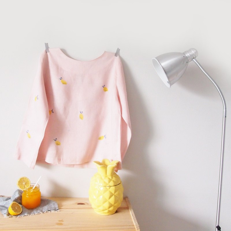 Lemon soda pink long-sleeved shirt (Lemon Top)