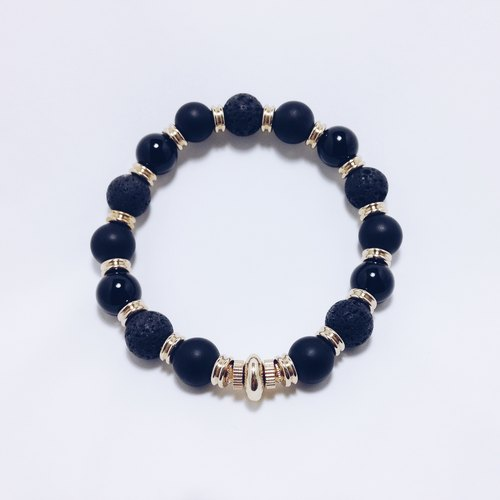 LOOPORIGINAL multi-material matte brass bracelet [Bean series of large pieces of the original stone]