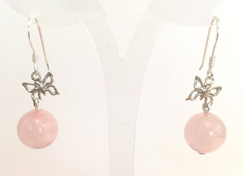 E0318 - Butterfly Original / own production / Silver 925 / natural gemstones both Lotus crystal earrings