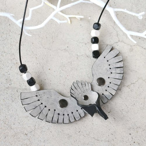U Fly I Fly - bird leather necklace - leather gray rub wax