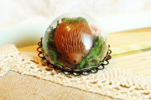 Hedgehog} {Mori の situation stereoscopic glass ball hedgehog Ring