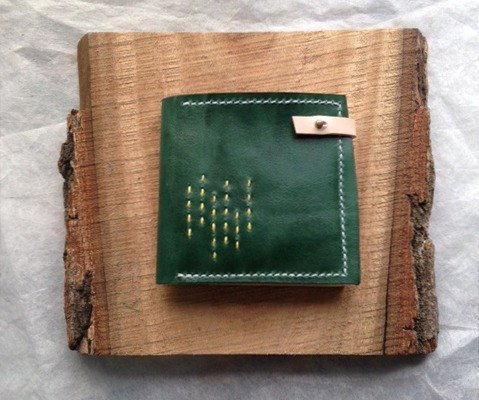 Forest green vegetable tanned leather wallet _ Sew