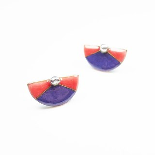 Handmade Enameling Earrings silver beads Cloisonne earrings retro fan (peach and purple)
