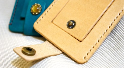 Hand-sewn leather ID card hanger (engraving)