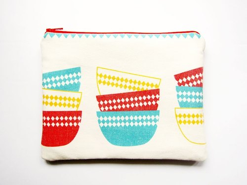Large zipper bag / pencil case / cosmetic bag retro bowl