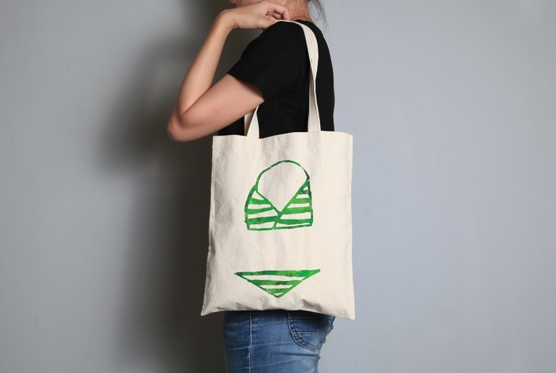 Hand-painted handprints Peibu bag [bikini] sided pattern hand / shoulder