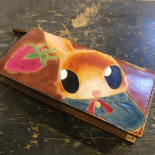 Lovey leather Accessories / strawberry forest Dodge rabbit treasure - Hand-made leather cow leather wallet long clip fairy forest wind grocery