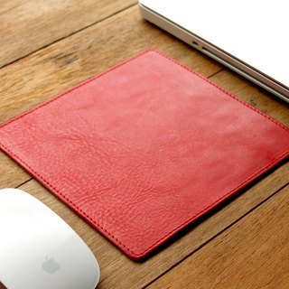 Leather Mouse Pad ( Custom Name ) - Coral Red