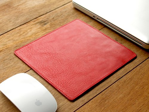 weekenlife - Leather Mouse Pad ( Custom Name ) - Coral Red