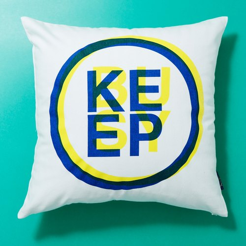 [KEEP BUSY Manually serigraphy pillow cover