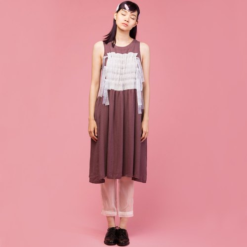 tan-tan / brown little drawstring dress
