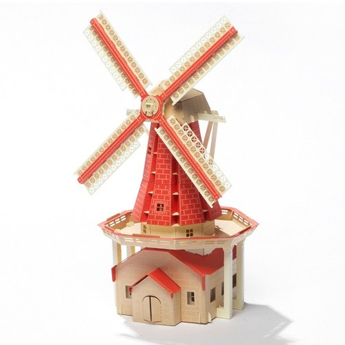 Papero paper scenery DIY mini model - Windmill Square (red) / Windmill (RED)