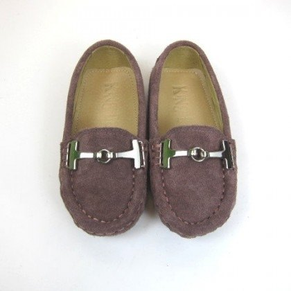 Fort Tony Wang leather handmade shoes kids [metal buckle / brushed leather / khaki / bean bottom]