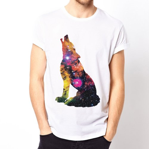 Wolf-Galaxy-sleeved T-shirt - white wolf animal nature Milky Way galaxy universe affordable fashion design own brand fashionable circle triangle