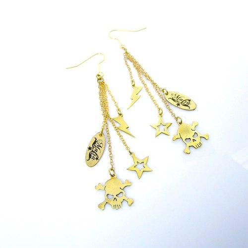 Skull Star Thunder earring in brass hand sawing