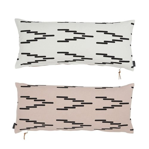 Long double color printing pillow - rose powder + cotton white | OYOY