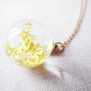 *Rosy Garden* Yellow star glitter with water inisde glass ball necklace