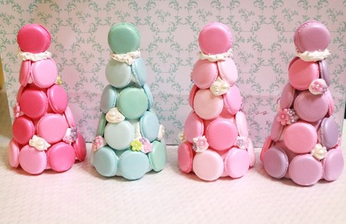 Hand-made Waltz - small floral Macaron tower business card holder / Xie deck / photo folder