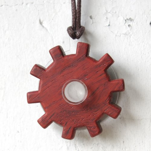 Necklace / gears series - red rosewood - transparent acrylic