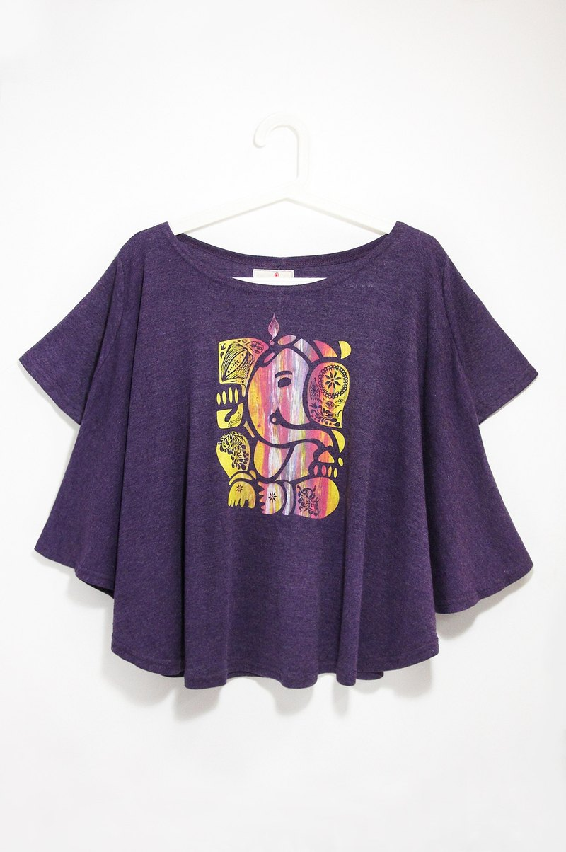 Women feel natural drape round pendulum travel T / blouses - Indian elephant / elephant god Ganish (cannabis purple)
