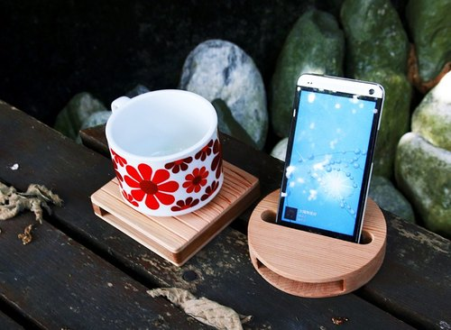 【Western Red Cedar】Cell Phone Sound Amplifier x Round Coaster