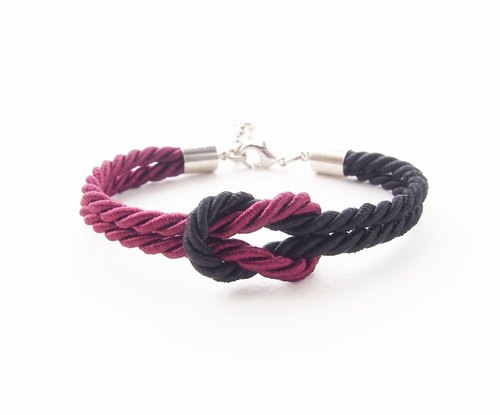 Deep red and black nautical bracelet