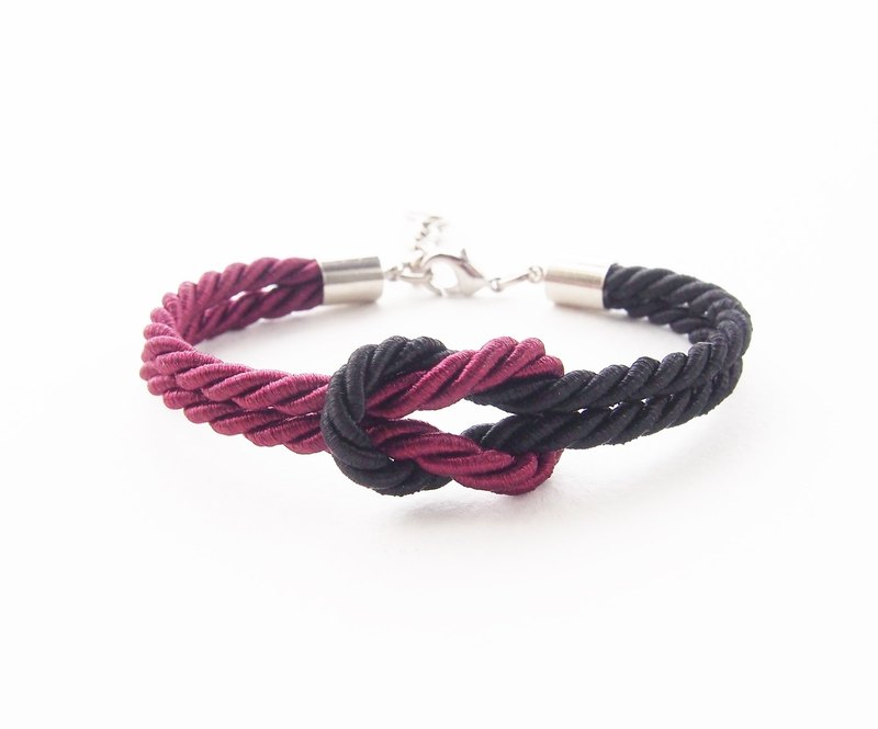 Maroon and Black knot rope bracelet