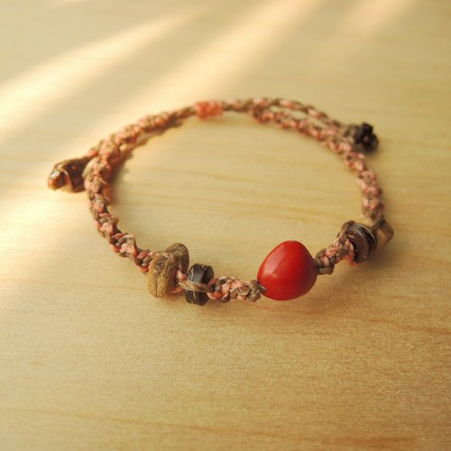 This material most Acacia (powder paragraph) / x Acacia red silk Brazilian wax cord bracelet
